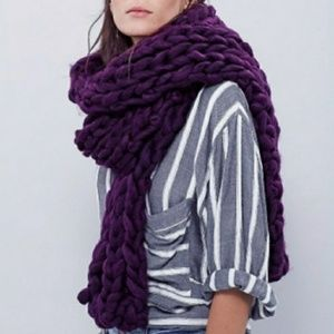 Free People Chunky Knit Scarf Wrap Plum